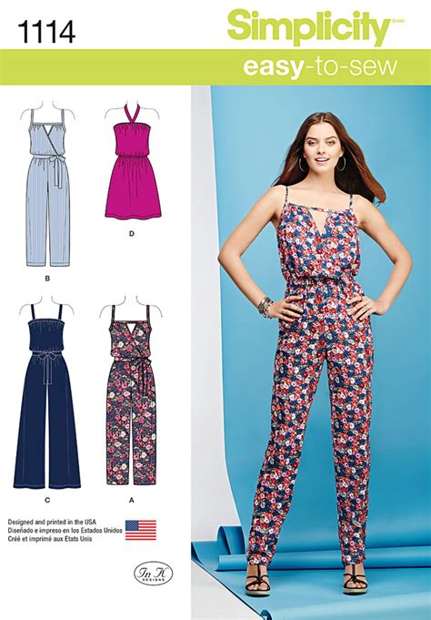jumpsuit sewing pattern 2015 simplicity 1114 misses easy dress and jumpsuits