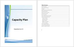 Capacity Report Template Capacity Plan Template Microsoft Word Templates