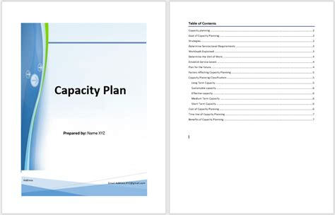 capacity management plan template capacity plan template microsoft word templates