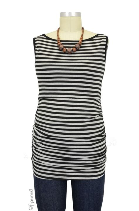 Baju Stripe Blouse Es baju sleeveless boatneck maternity nursing top in grey black stripe