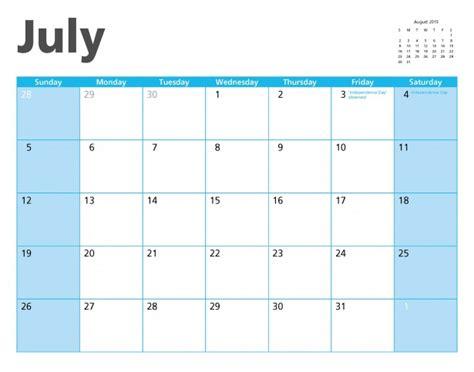 Calendar Of July 2015 July 2015 Calendar Page Free Stock Photo Domain