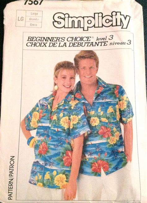 hawaiian shirt pattern sewing 1980s simpllicity 7567 easy mens womens shirt pattern