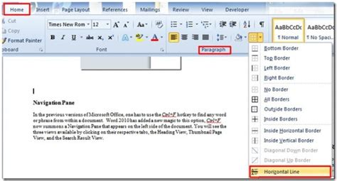 page layout horizontal word how to quickly insert horizontal line in word 2010 document