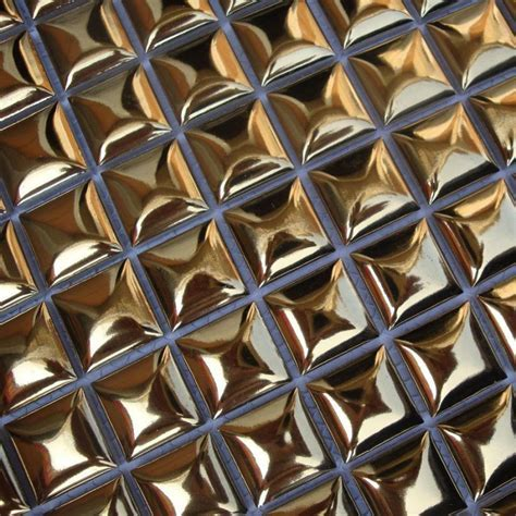 Gold Porcelain Mosaic Bathroom Wall Bread Glossy Ceramic