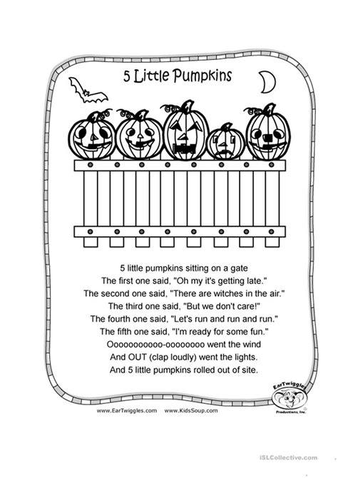 5 little pumpkins worksheet free esl printable