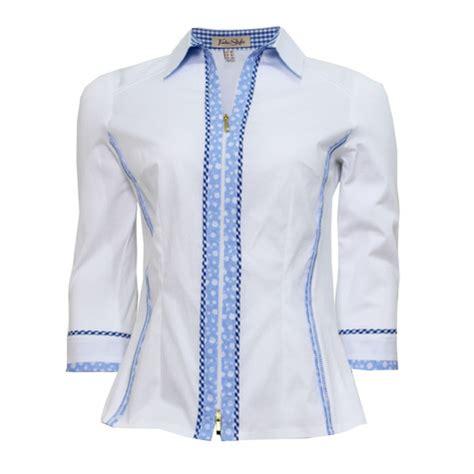 tinta style white blue trim blouse