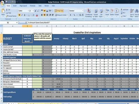 expense budget template excel