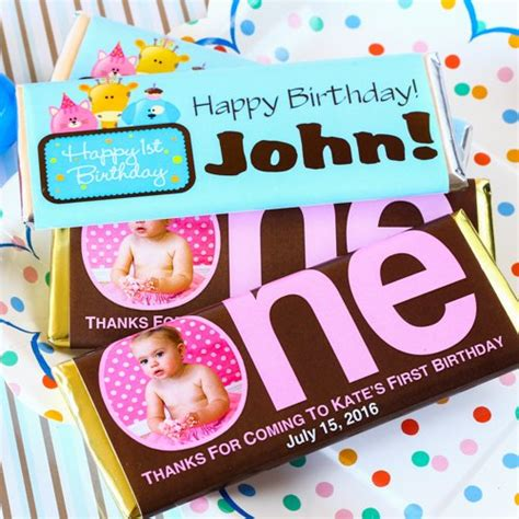 personalized birthday chocolate bars 1st birthday