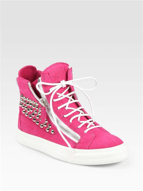 pink sneakers giuseppe zanotti studded suede wedge sneakers in pink lyst
