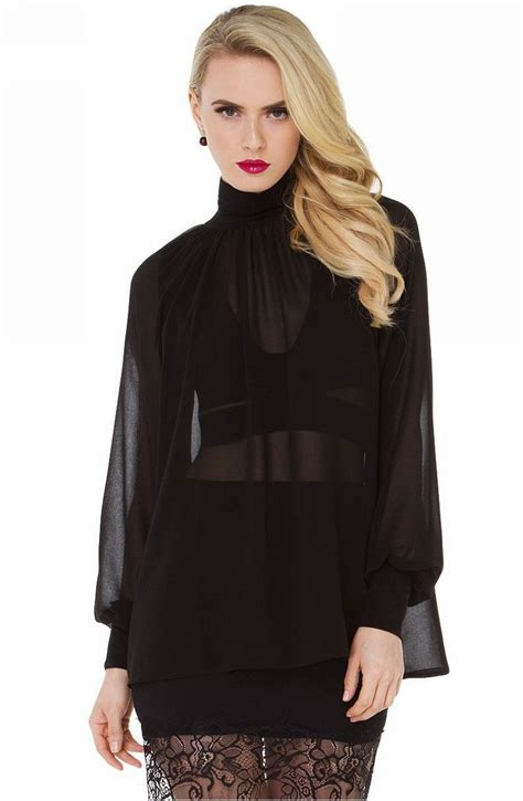 Sleeved Chiffon Shirt lantern sleeve high neck sheer chiffon blouse shirt black