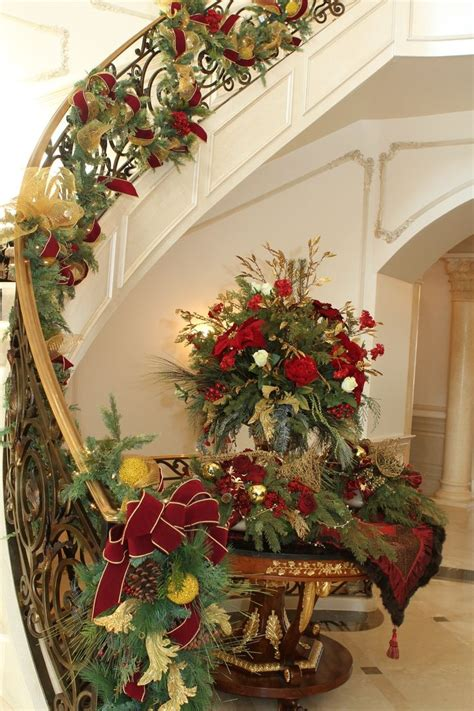 banister christmas garland christmas banister christmas decor pinterest