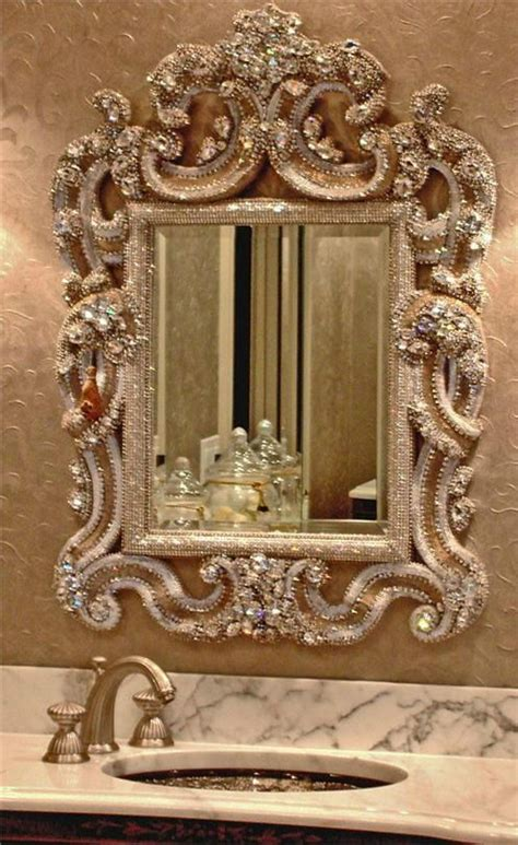 diamond blinged  wall mirror   bathroom adds  glam home
