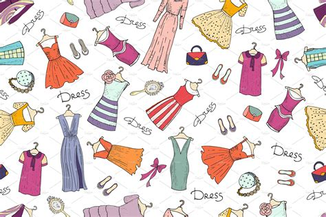 clothes pattern wallpaper pattern with fashionable dresses patterns creative market