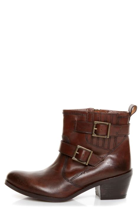 roam cognac brown leather motorcycle ankle boots 119 00