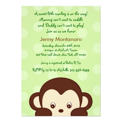 Mod Monkey Baby Shower Invitations by Pop Mod Monkey Dots Custom Baby Shower Invitations Zazzle