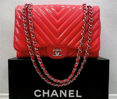 Coral Jumbo Maxy by Authentic Chanel Coral Chevron Patent Flap Maxi Xl Jumbo