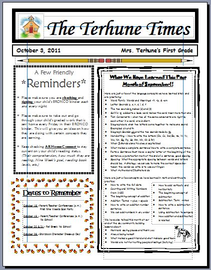 parent newsletter templates teaching with terhune monthly newsletters
