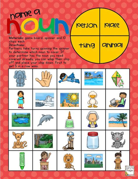 free printable noun board games lory s 2nd grade skills name a noun game board