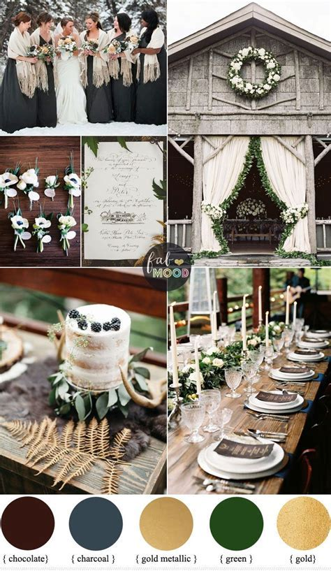 Rustic December Wedding in Charcoal   green   muted gold
