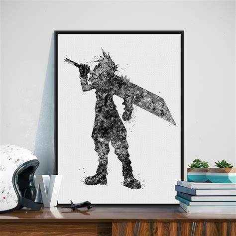 black art home decor black white final fantasy japanese game poster prints a4 abstract picture modern home decor wall