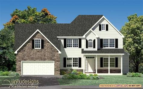 Log Home Floor Plans by 2d Color Elevation Color Elevation Rendering