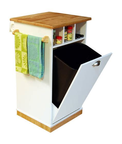 kitchen trash can storage cabinet pantry tower w butcher block top cart kitchen island