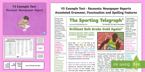 Y5 Recounts Newspaper Report Model Example Text Genre