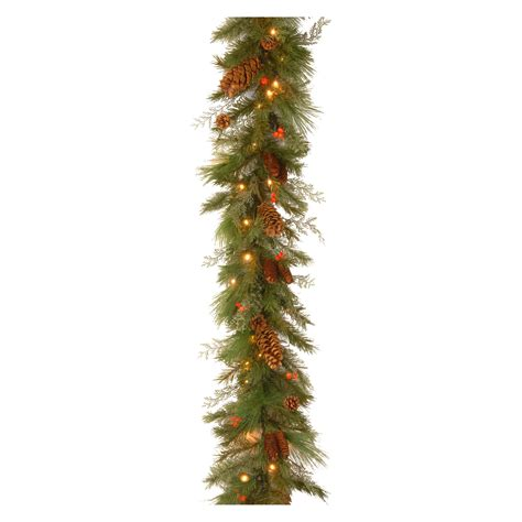 6 ft decorative collection white pine pre lit led garland