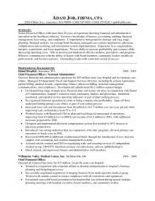 Lease Administrator Sle Resume by Cfo Resume Sle Vice President Of Finance Director Of