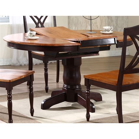 Two Tone Dining Tables Cyrus Extending Dining Table Top Pedestal Base Two Tone Dcg Stores