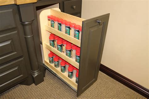 pull out spice rack for upper cabinets spice medicine storage burrows cabinets central