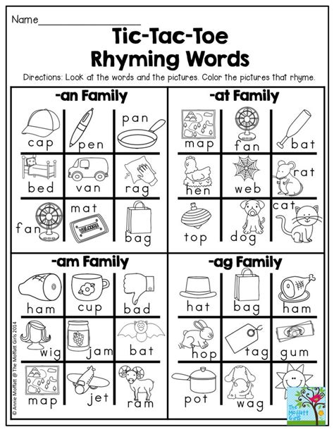 words that rhyme with colors tic tac toe rhyming words find the words that rhyme and