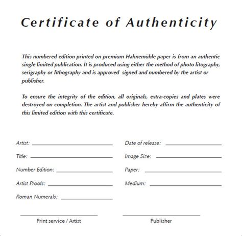 authenticity certificate template 6 certificate of authenticity templates website