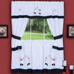 Chef Kitchen Curtains Set Gourmet Chef Window Kitchen Curtain Set W 36 Tiers Black White Curtains Ebay