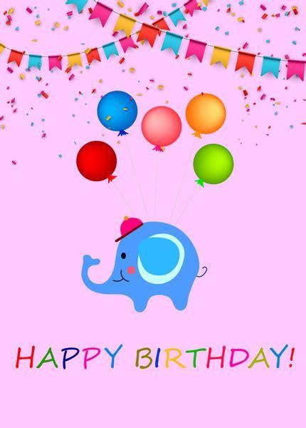 Happy Birthday Design Ai | happy birthday background with cartoon elephant free