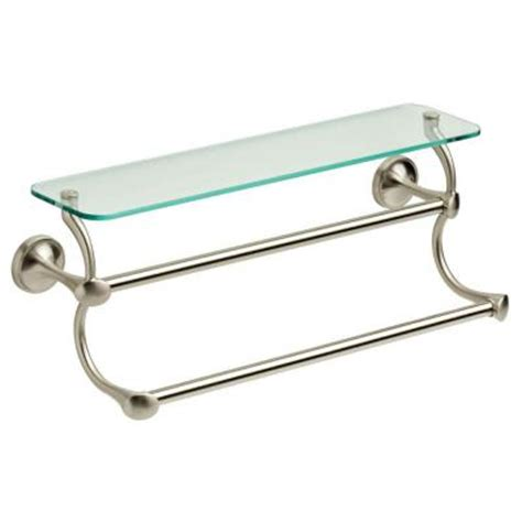 delta 18 in towel bar in brushed nickel with glass