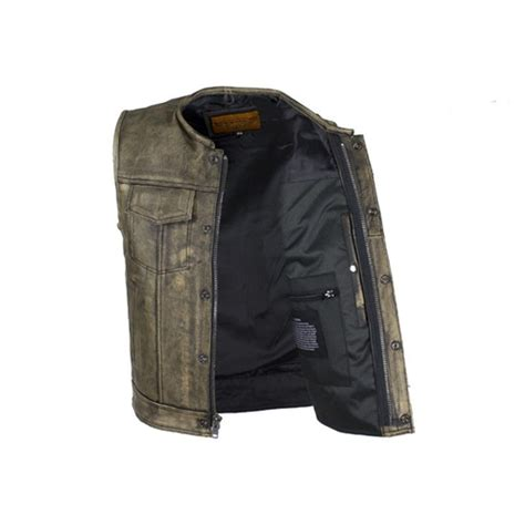 Premium Vest Zipper Harley Davidson 3 distressed brown leather motorcycle vest for zipper