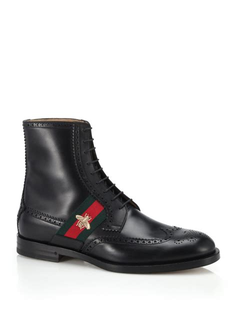 gucci boots gucci leather boot with bee web in black for lyst