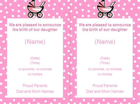 free baby announcements templates free baby birth announcement flyer template free