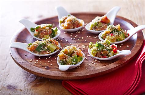 canapes on spoons recipes chopped smoked salmon spoons tesco food
