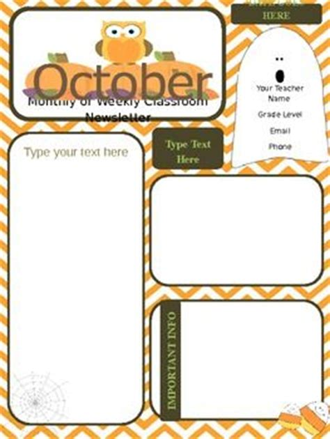 october newsletter template templates parent communication and newsletter templates