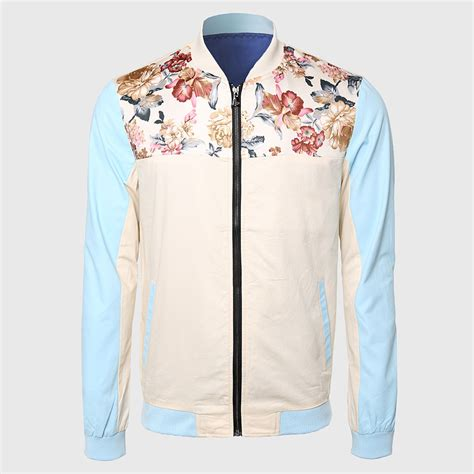 Topi Custom Colours Printing 1 cool floral jackets mandarin collar travel jacket sleeve khaki blue contrast color