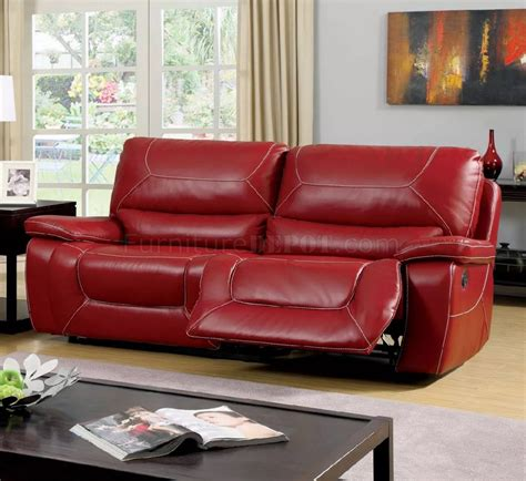 Red Sofa Recliner by Newburg Reclining Sofa Cm6814rd In Red Leather Match W Options