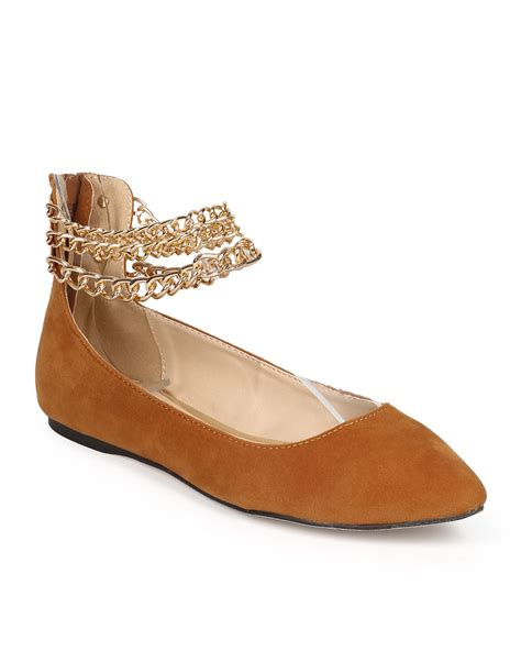 Ballet Flats 3 by New Liliana Tobbi 3 Suede Pointy Toe Ankle Chain Zip
