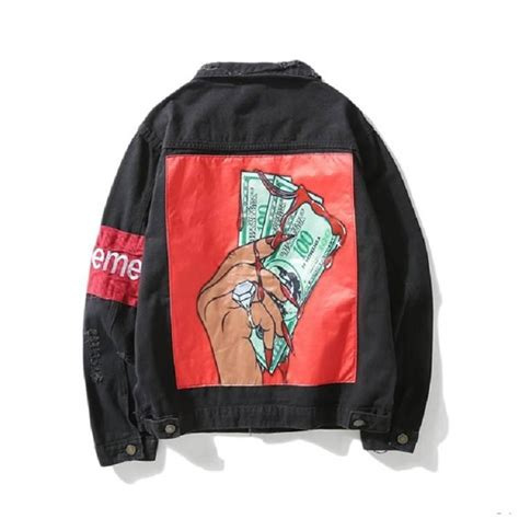 Supreme Cheap Cheap Supreme Dollar Black And New Jackets For Sale