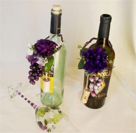 vineyard wedding wine bottle centerpiece grape purple topper