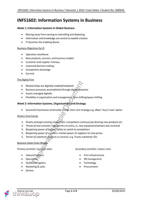 System In Business Mba Notes by Infs1602 Summary Notes Infs1602 Information Systems In