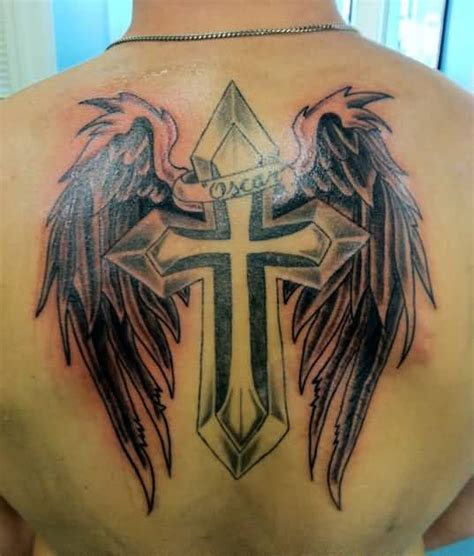 tattoo angel wings and cross men back tattoo ideas and men back tattoo designs