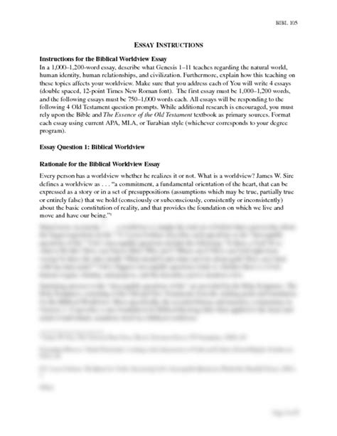 Bible Essays by Essay 1 Docx Bible 105 With At Liberty Studyblue