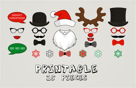 free printable photo booth props template christmas printable christmas photo booth moustaches lips snowflake